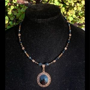 """10"""" black & copper beaded necklace"""